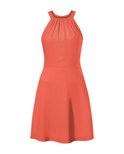 Coral Crepe Ruched Neck Skater Dress | New Look