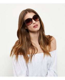 Brown Tortoiseshell Print Embellished Side Sunglasses | New Look