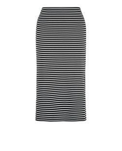 Black Ribbed Stripe Split Side Midi Skirt  | New Look