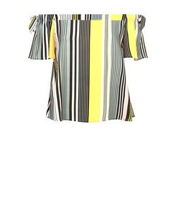 Black Stripe Tie Side Bardot Neck Top | New Look