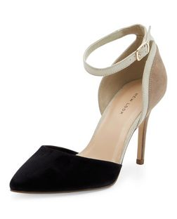 Black Suedette Colour Block Pointed Heels | New Look