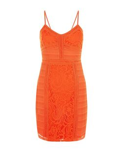 Bright Orange Contrast Lace Strappy Bodycon Dress  | New Look