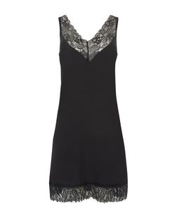 Black Premium Lace Trim Slip Dress  | New Look