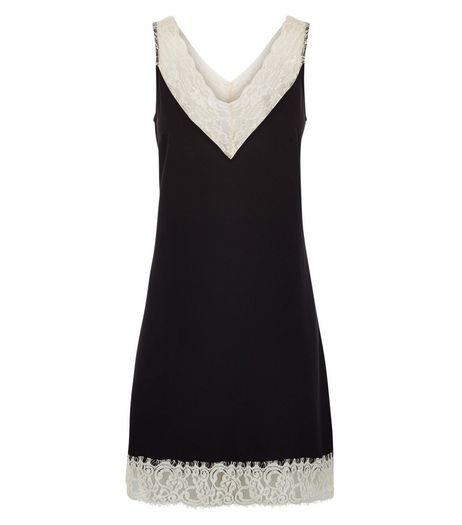 Black Premium Contrast Lace Trim Slip Dress  | New Look