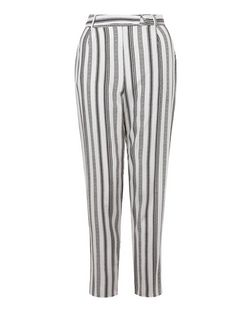 White Stripe Tie Waist Trousers  | New Look