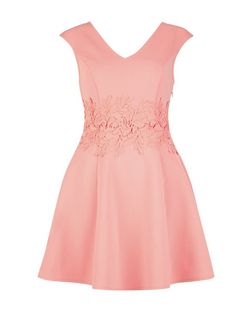 Coral Crochet Panel Skater Dress | New Look