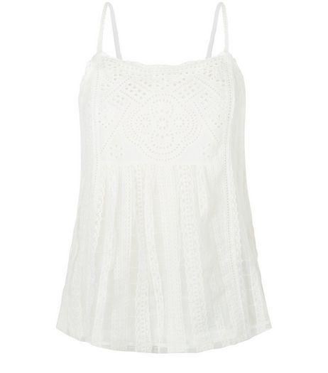 Cream Embroidered Panel Cami  | New Look