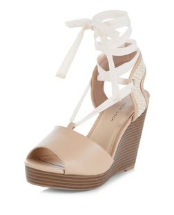 Wide Fit Camel Ghillie Wedge Sandals  | New Look