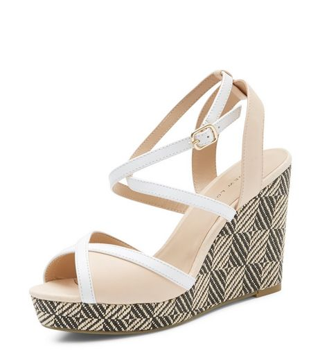 Wide Fit Camel Cross Strap Woven Wedge Sandals | New Look