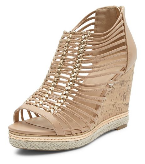 Wide Fit Gold Woven Strap Wedges  | New Look