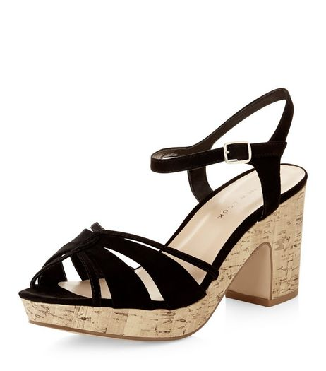 Wide Fit Black Cross Strap Block Heels | New Look