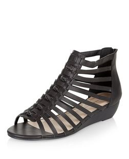 Wide Fit Black Knotted Strap Wedge Sandals  | New Look