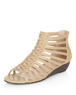 Wide Fit Camel Knotted Strap Wedge Sandals  | New Look