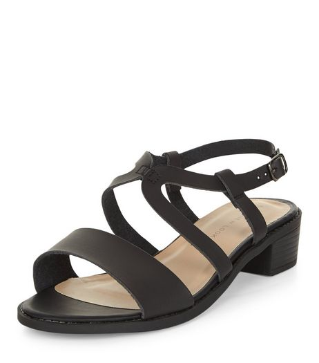 Wide Fit Black Cross Strap Sandals  | New Look