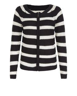 Blue Vanilla Black Stripe Zip Up Jumper  | New Look