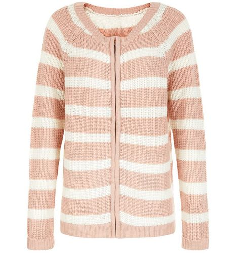 Blue Vanilla Pink Stripe Zip Up Jumper | New Look