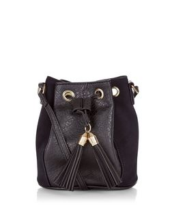 Black Contrast Tassel Duffle Bag  | New Look