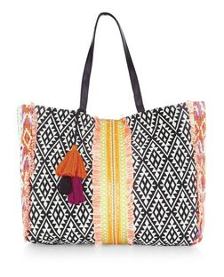 Multicoloured Aztec Woven Tassel Trim Tote Bag  | New Look
