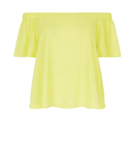 Lime Bardot Neck Top | New Look