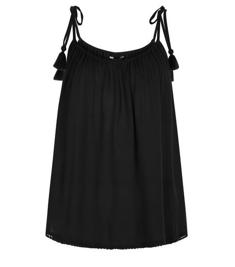 Black Tie Strap Cami  | New Look