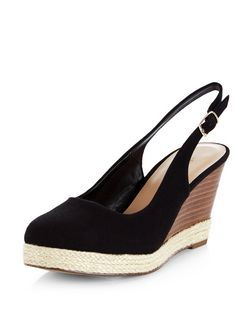 Black Canvas Sling Back Espadrille Wedges  | New Look