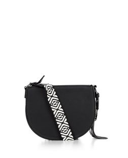 Black Stitch Trim Guitar Strap Saddle Bag  | New Look