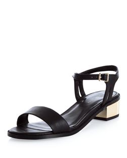 Black Ankle Strap Metal Block Heel Sandals  | New Look