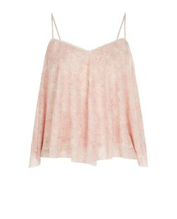 Pink Floral Print Layered Hanky Hem Cami  | New Look