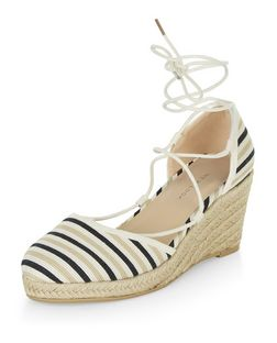 Black Canvas Stripe Ghillie Wedge Sandals  | New Look
