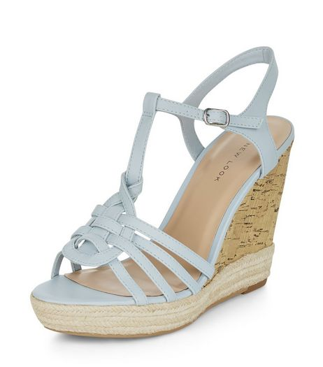Pale Blue Cross T-Bar Strap Espadrille Wedges  | New Look