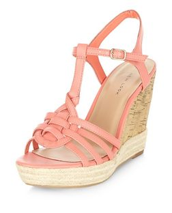 Coral Cross T-Bar Strap Espadrille Wedges | New Look