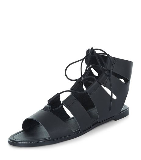 Black Ghillie Sandals  | New Look