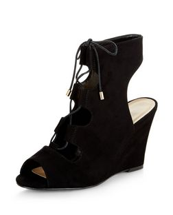 Black Suedette Peep Toe Ghillie Wedges  | New Look