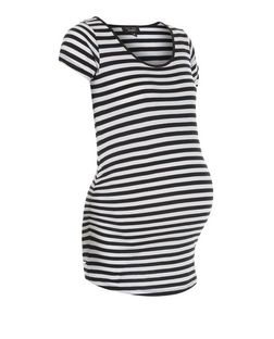 Maternity Black Stripe Cap Sleeve Top | New Look