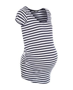 Maternity Blue Stripe Cap Sleeve Top | New Look