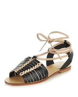 Black Leather Lace Up Sandals | New Look