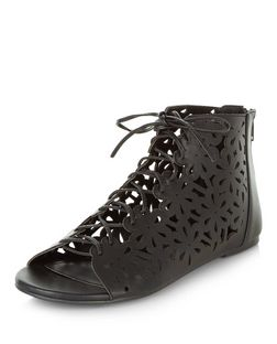 Black Faux Leather Laser Cut Out Ghillie Sandals | New Look
