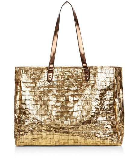 Gold Woven Straw Shopper Bag  | New Look