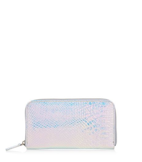 Multicoloured Holographic Textured Zip Around Purse  | New Look