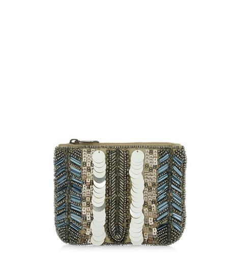 Gold Embellished Zip Top Coint Purse  | New Look