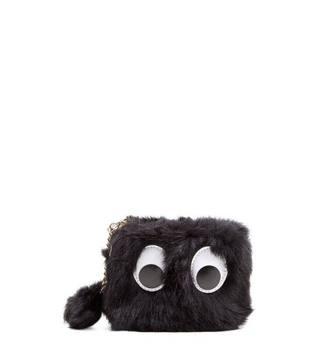 Black Faux Fur Googly Eyes Purse | New Look