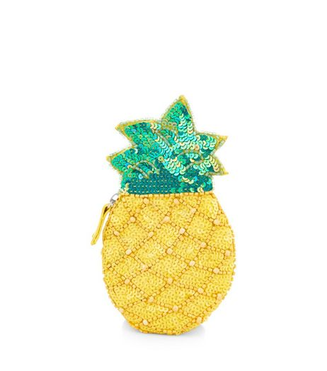 Yellow Embellished Pineapple Zip Top Coin Purse  | New Look