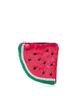 Red Embellished Watermelon Coin Purse  | New Look