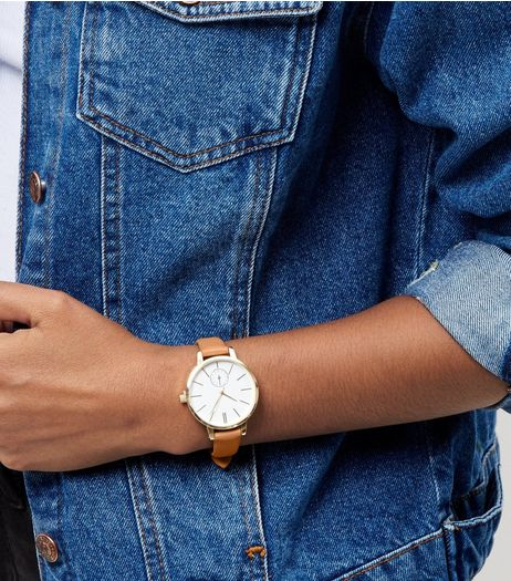 Light Brown Leather-Look Skinny Strap Watch | New Look