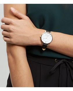 Black Leather-Look Strap Mini Dial Watch | New Look