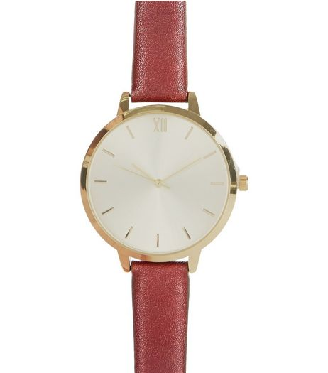 Dark Red Leather-Look Strap Watch | New Look