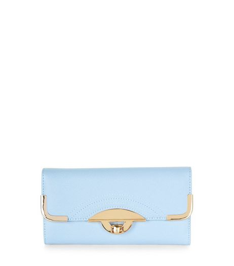 Pale Blue Curved Twist Lock Purse  | New Look