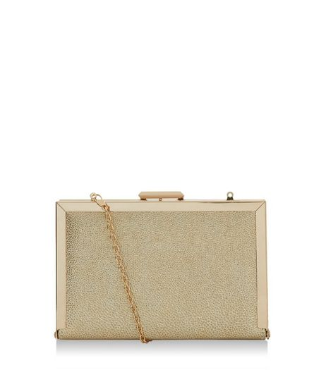 Gold Metallic Box Clutch  | New Look