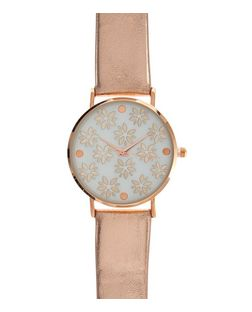 Pink Floral Print Metallic Watch  | New Look