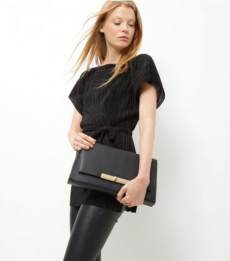Black Snakeskin Textured Clutch  | New Look